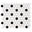 """Retro 0.875"""" x 0.875"""" Hex Porcelain Mosaic Tile in White with Black Dots"""