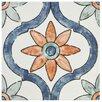"EliteTile Avaricon 7.875"" x 7.875"" Ceramic Patterned/Field Tile in Blue/Green/Orange"