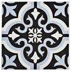 """EliteTile Lima 7.75"""" x 7.75"""" Ceramic Patterned/Field Tile in Blue/Black"""