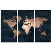 Oliver Gal Mapamundi 3 Piece Graphic Art Wrapped on Canvas Set