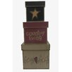 """Craft Outlet 3 Piece """"Country Living"""" Square Nesting Box Set"""