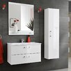 Belfry Bathroom Adel Wall 45cm Wall Mounted Vanity Unit with Mirror, Tap and Storage Cabinet