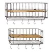 Cole & Grey Iron and Wood Wall Hook Set