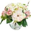 Ophelia & Co. Myrte Faux Mixed Rose & Hydrangea in Glass Vase