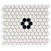 "Retro Hexagon 0.875"" x 0.875"" Porcelain Mosaic Tile in Glazed White/Black"