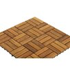 """Bare Decor EZ-Floor Wood 12"""" x 12"""" Interlocking Flooring Tile Trim in Teak"""