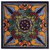"Native Trails, Inc. Geraniums 6"" x 6"" Hand Painted Talavera Tile"
