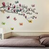 Walplus Huge Magnolia and 3D Colourful Butterfly Wall Sticker