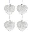 The Seasonal Aisle 4 Piece Heart Pearls Glass Shaped Ornament Set (Set of 4)