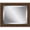 Ashton Wall Décor LLC Rustic Walnut Wood Effect Framed Beveled Plate Glass Mirror