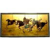 "Oriental Furniture 36"" x 72"" Gold Leaf Riders In The Storm On 4 Panel Room Divider"