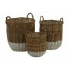 Castleton Home Pramble 3 Piece Round Spit Kubu Rattan Storage Basket Set