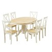 Küstenhaus Essgruppe Bartett mit ausziehbarem Tisch und 6 Stühlen