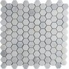 """Arabescato Carrara 12"""" x 12"""" Hexagon & Dot Tile in Mosaic"""