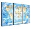 LanaKK World Map Frozen - Spanish Graphic Art Print Set on Canvas in Blue (Set of 3)