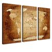 LanaKK World Map - French Graphic Art Print Set on Canvas in Brown (Set of 3)
