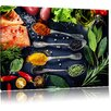 Pixxprint Fine Spices on Spoons Photographic Print on Canvas