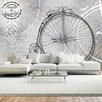 Artgeist Vintage Bicycles Black and White 2.1m x 300cm Wallpaper