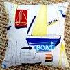 Artisan Pillows Sail Boat Beach Nautical Marine Coastal Cotton Throw Pillow