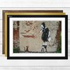 Big Box Art 'Girl and Rat Graffiti' by Banksy Framed Photographic Print