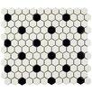 "Retro 0.875"" x 0.875"" Hex Porcelain Mosaic Tile in Matte White with Black Dots"