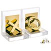 2 Piece Gold X O Book End Set