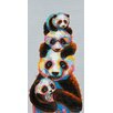 Vintage Boulevard Four Stacked Pandas Wall Art on Canvas