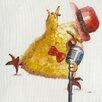 Vintage Boulevard Leinwandbild Singing tweety Bird in Hellgrau/Gelb