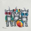 Vintage Boulevard Cats Playing II Wall Art on Canvas