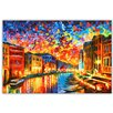 Hokku Designs New Venice Grand Canal by Leonid Afremov Painting Print on Wrapped Canvas