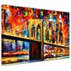 "Hokku Designs Leinwandbild ""Brooklyn Bridge New York City"" von Leonid Afremov, Kunstdruck"