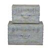Home & Haus 2 Piece Metal Suitcase Set