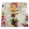 Hazelwood Home Floral Dance 4 Piece Glass Coaster Set