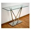 Hokku Designs Glass and Stainless Steel Console Table
