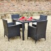 Hokku Designs 4 Seater Dining Set with Upholstery Cushions