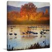 Marmont Hill 'Orange Tree Cranes' by Chris Vest Painting Print on Wrapped Canvas