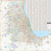 """Universal Map Laminated Chicago IL and Vicinity Wall Map 56"""" x 56"""""""