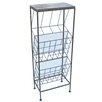 Castleton Home Metal Freestanding Magazine Rack with Table Top and 2 Sections