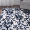 August Grove Labrosse Ivory Blue Floral Area Rug Amp Reviews