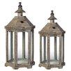 Laurel Foundry 2 Piece Wood Lantern Set