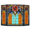 River of Goods Roman Cathedral 3 Panel Stained Glass Fireplace Screen