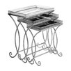 Castleton Home Antalya Metal/Mirrored 3 Piece Nest of Tables
