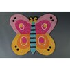 Castleton Home Kids Butterfly Hand-Tufted Pink/Yellow/Orange Area Rug