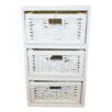 Woodluv 3 Drawer Wicker Cabinet