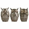 Castleton Home Owls Polyresin 3 Piece Sculpture Set