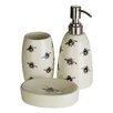 Castleton Home Queen Bee Ceramic 3 Piece Bathroom Accessory Set