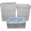 Wicker Valley 4 Piece Gingham Wicker Laundry Set
