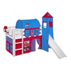 Just Kids Jelle Spider-Man High Sleeper Bunk Bed with Curtain, Tower and Slide