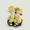 House Additions Couple on Wooden Trunk Statue