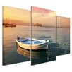 Bilderdepot24 Traditional Greek Fishing Boat 3-Piece Photographic Print Set on Canvas